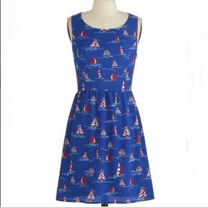 ModCloth Pink Owl Sailboat nautical tank dress 1x